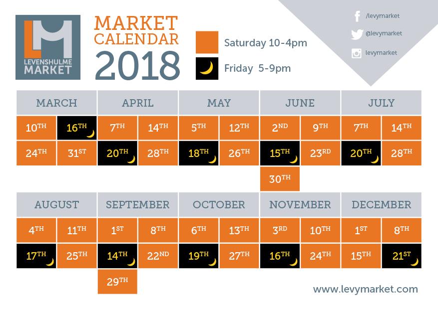 Levenshulme Market Calendar 2018